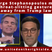 Watch: ABC's George Stephanopoulos Caught Making Throat-Slitting Gesture to Cut Away from Trump Lawyer