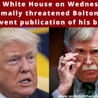 The White House on Wednesday sent a formal threat to stop the publication of John Bolton's book