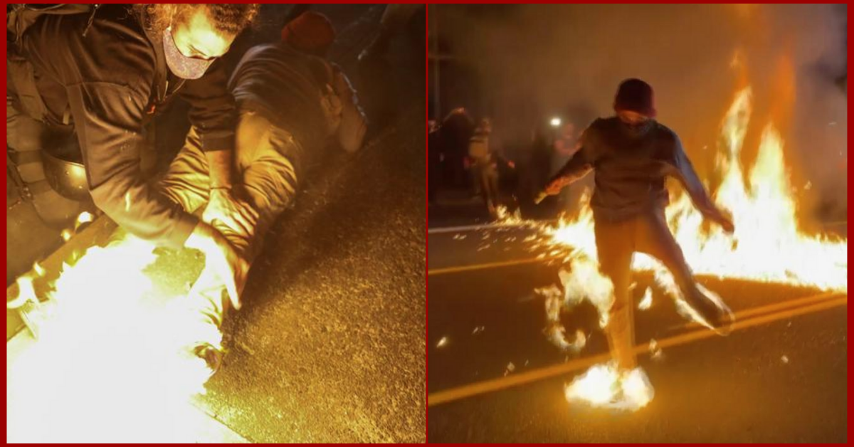 Man catches fire during racial injustice protests in Portland, Oregon